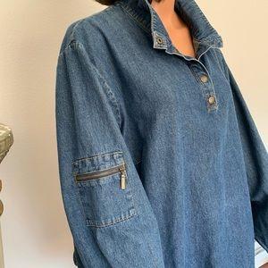 Liz & Me Plus Size 3X Women Denim Tunic Designer
